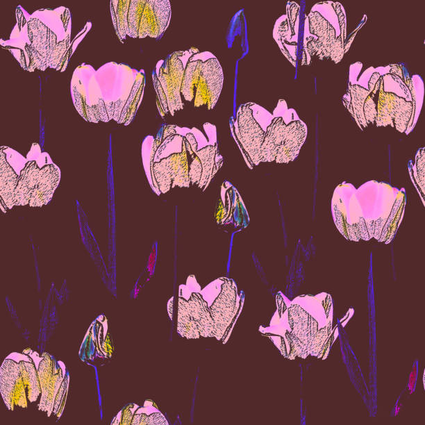 Seamless pattern with tulips, vintage, grunge background. stock photo