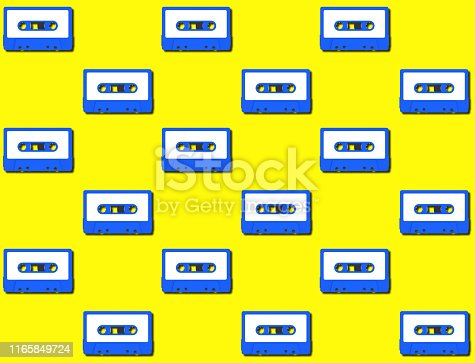 istock Seamless pattern with vintage blue audio tape cassette concept illustration isolated on yellow background, 3d rendering 1165849724