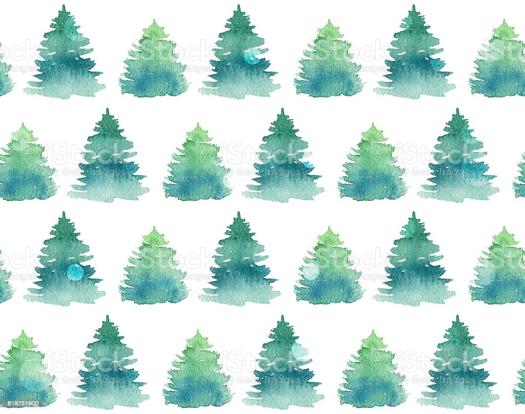 Seamless pattern with watercolor fir trees. stock photo