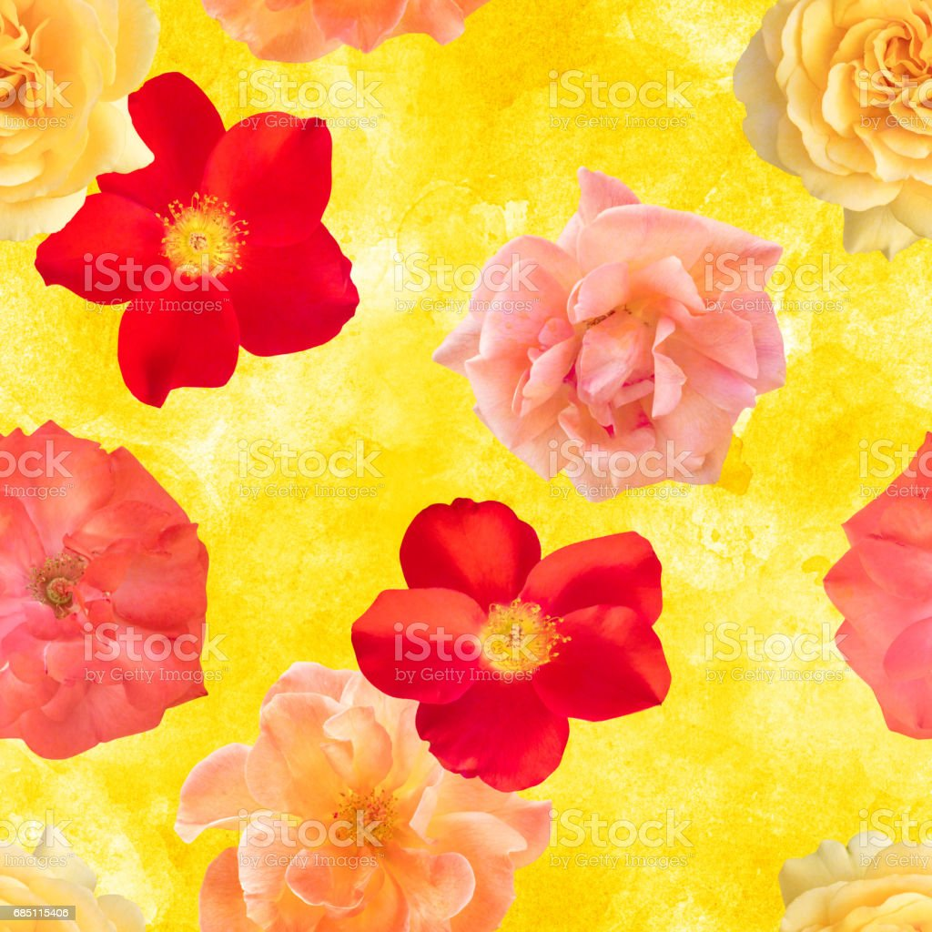 Seamless photo rose floral pattern on golden yellow texture royalty-free stock photo