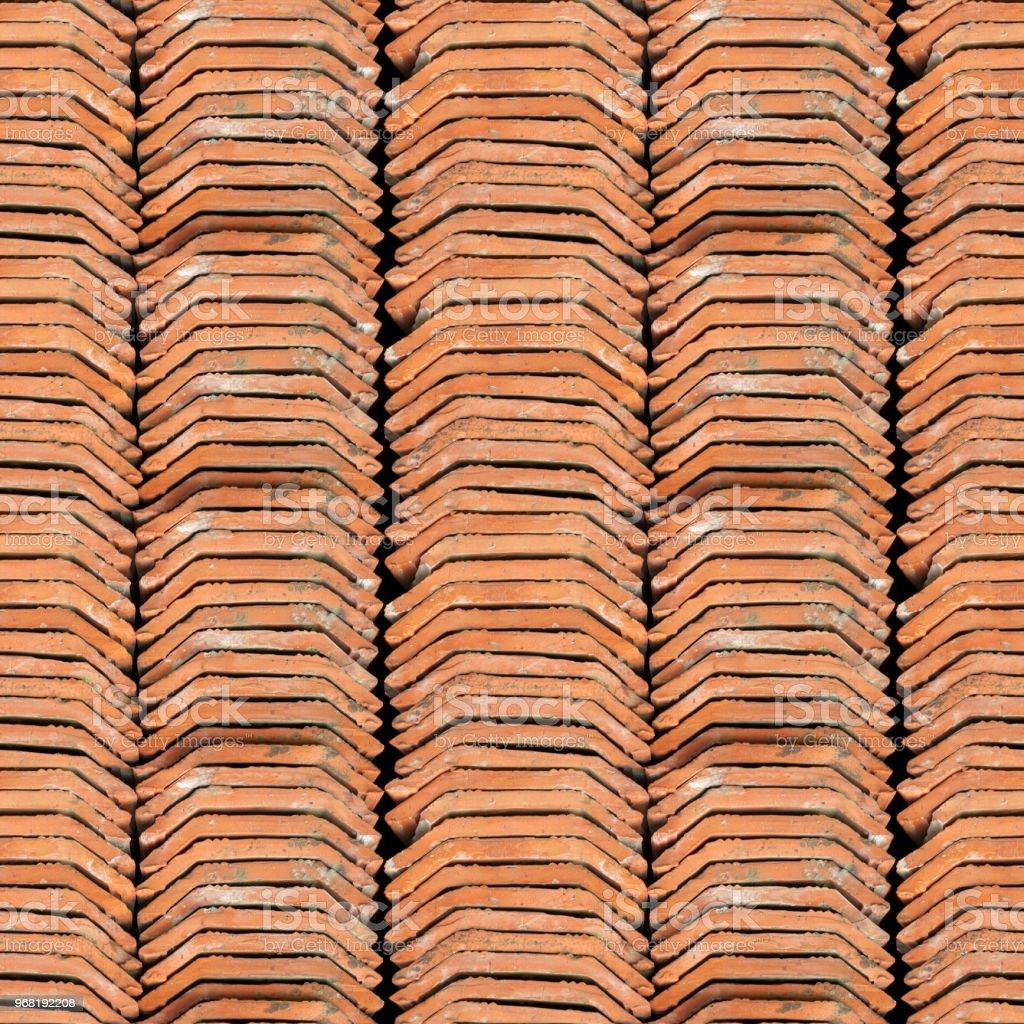 Textura foto perfeita da pilha do holandês telhado de telha - Foto de stock de Abstrato royalty-free
