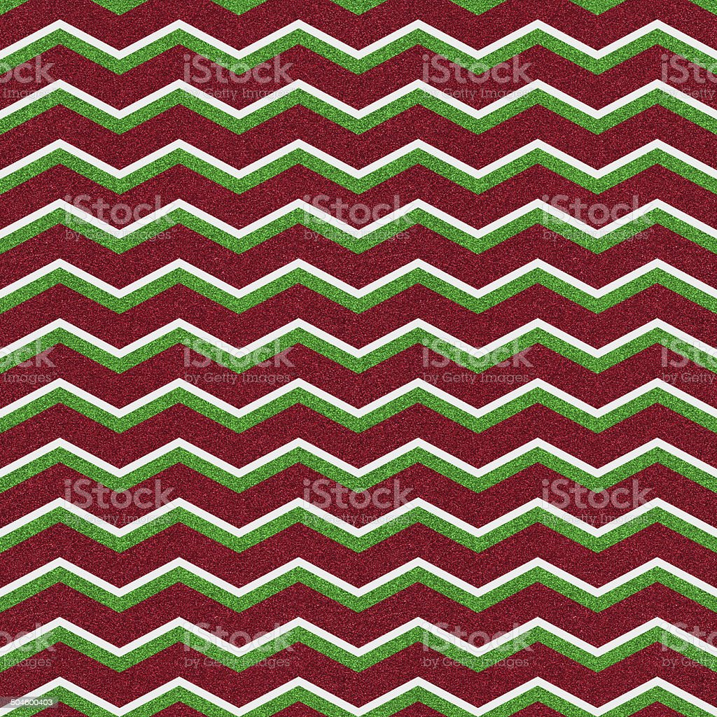 Seamless red and green chevron glitter pattern on paper royalty-free stock photo