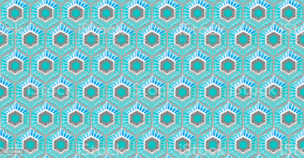 seamless reflective blue tech background with hexagon based shapes (3d illustration) stock photo