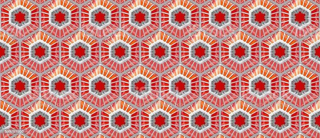 seamless reflective orange tech background with hexagon based shapes stock photo