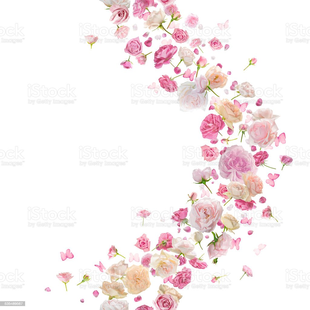 Seamless Roses and Butterflies Breeze Curve stock photo