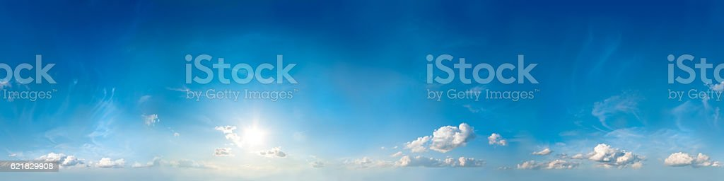 Seamless sky panorama. 360 degrees. stock photo