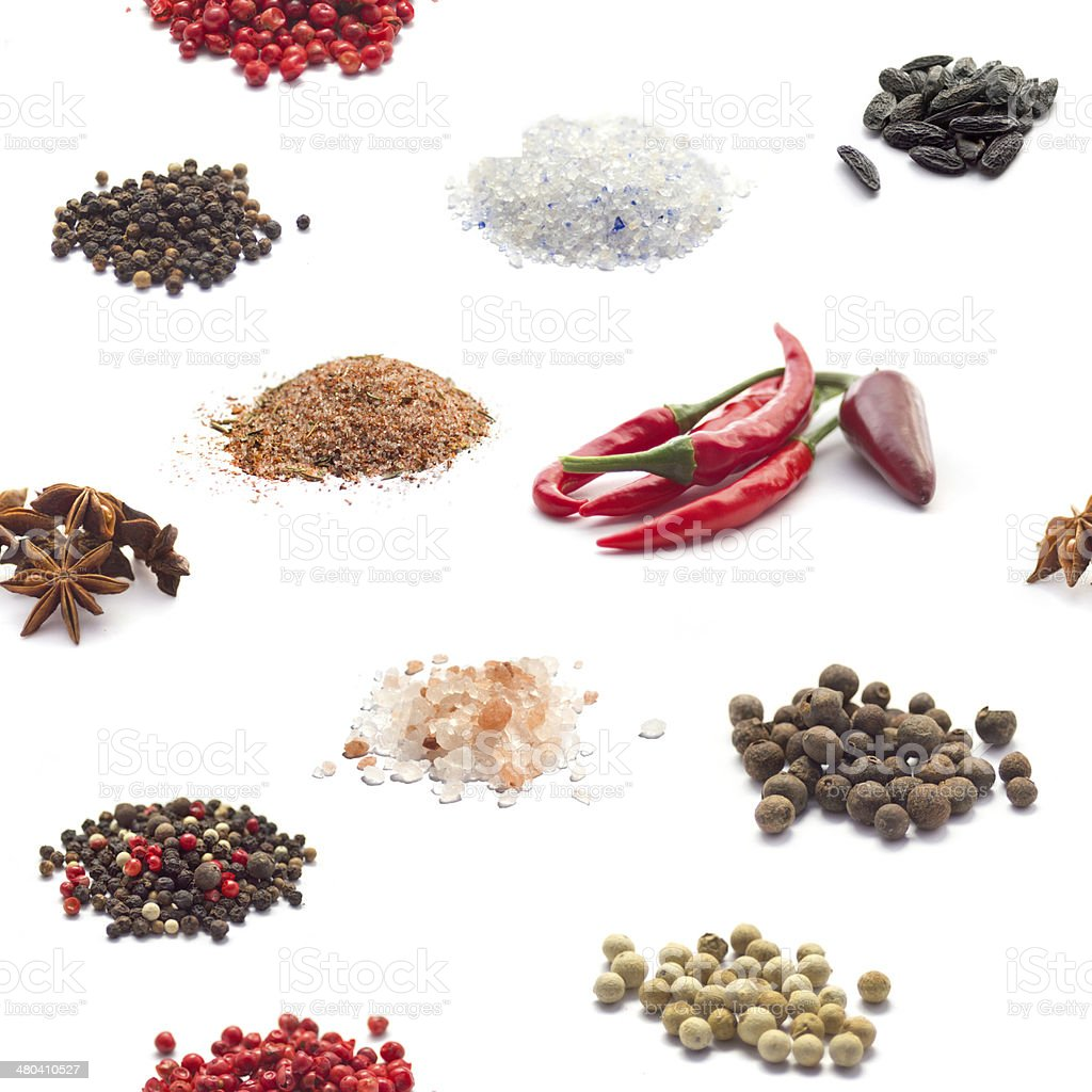 Seamless spices background stock photo