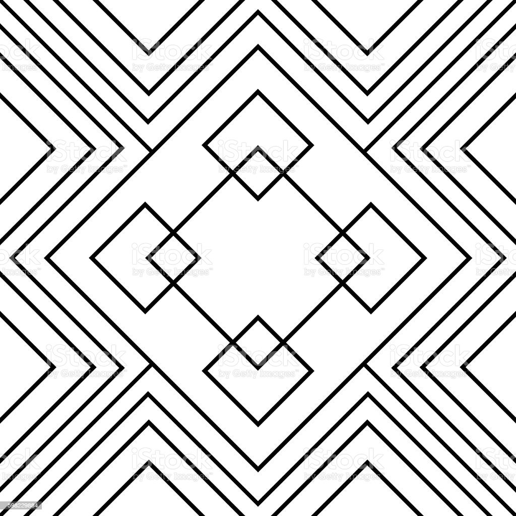 Seamless square geometric endless pattern, continuous rhythmic black lines foto royalty-free