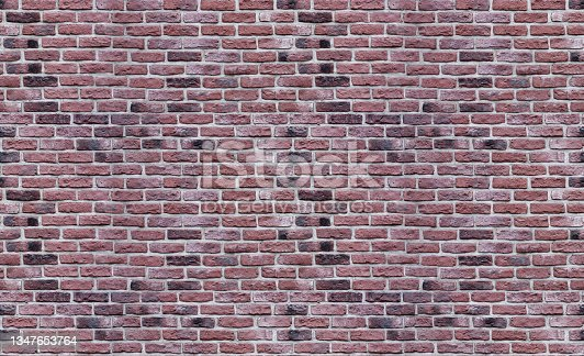 istock Seamless texture of old dark red brick wall, four fragments 1347653764