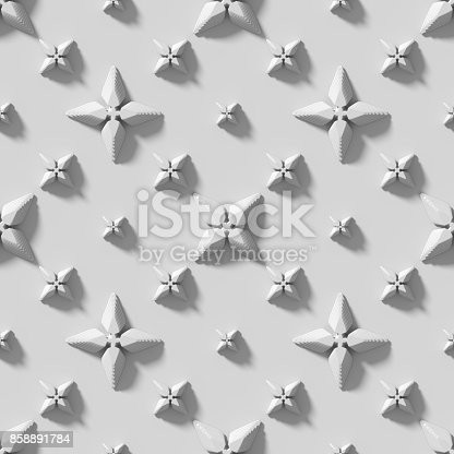 istock Seamless texture with abstract crosses. 3D render. 858891784