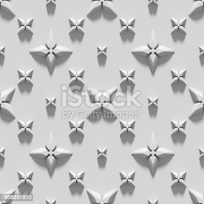 istock Seamless texture with abstract crosses. 3D render. 858891810