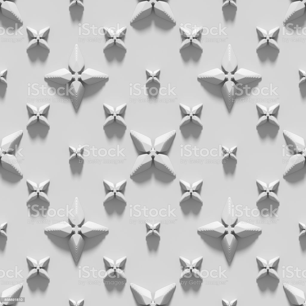 Seamless texture with abstract crosses. 3D render. stock photo