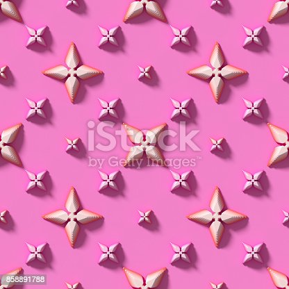 istock Seamless texture with abstract crosses on a pink background. 3D render. 858891788