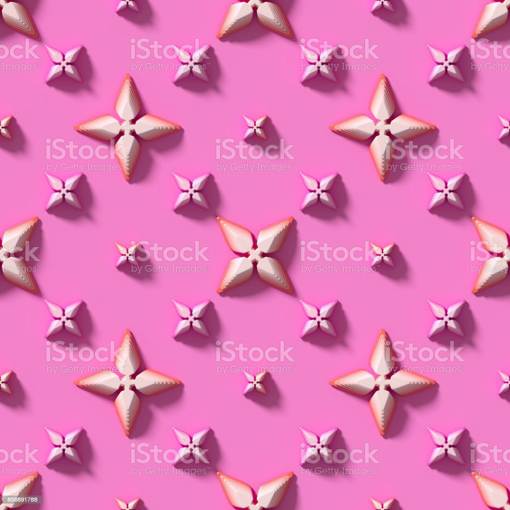 Seamless texture with abstract crosses on a pink background. 3D render. stock photo