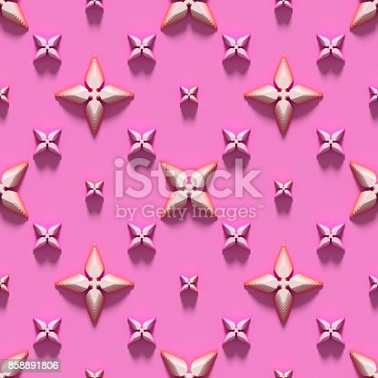 istock Seamless texture with abstract crosses on a pink background. 3D render. 858891806