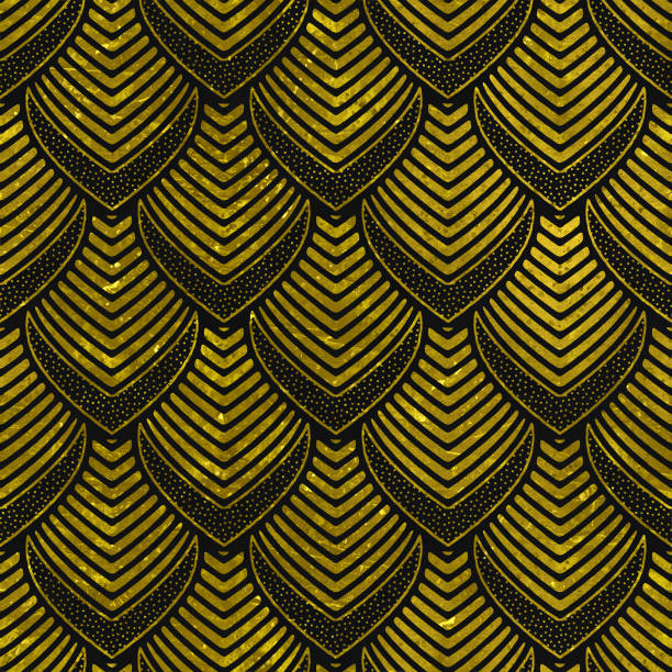 seamless texture with gold and black pattern - art deco stock photos and pictures