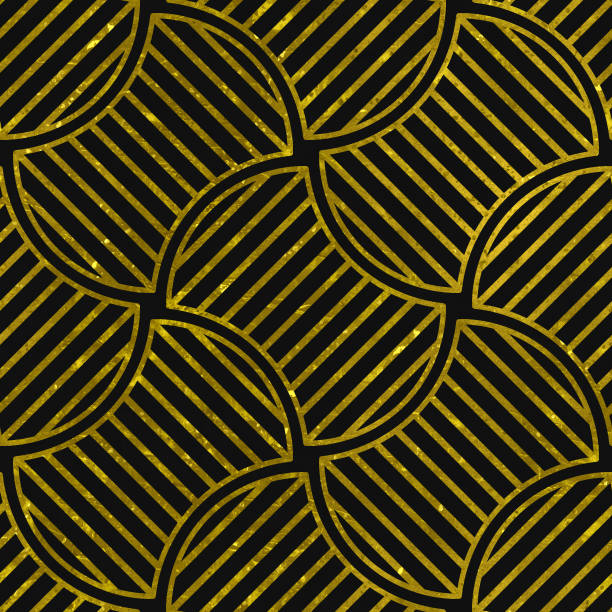 seamless texture with gold and black pattern - art nouveau stock photos and pictures