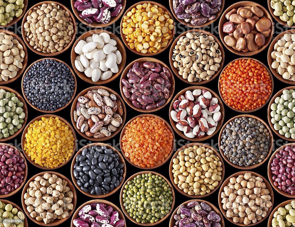 Seamless texture with legumes stock photo