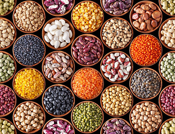 seamless texture with legumes - bean stock photos and pictures