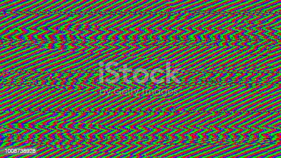 When communications break down ... no signal, and lots of noise. Abstract Random RGB zigzag interference. Seamless and tileable.