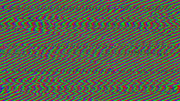 zigzag glitch - seamless tv interference. colourful abstract rgb breakdown in transmission. - televisão estática imagens e fotografias de stock
