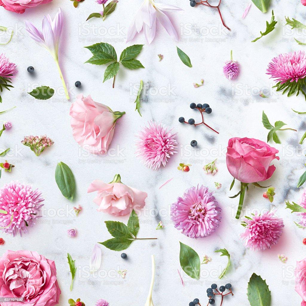 Seamless wallpaper pattern of pink flowers stock photo