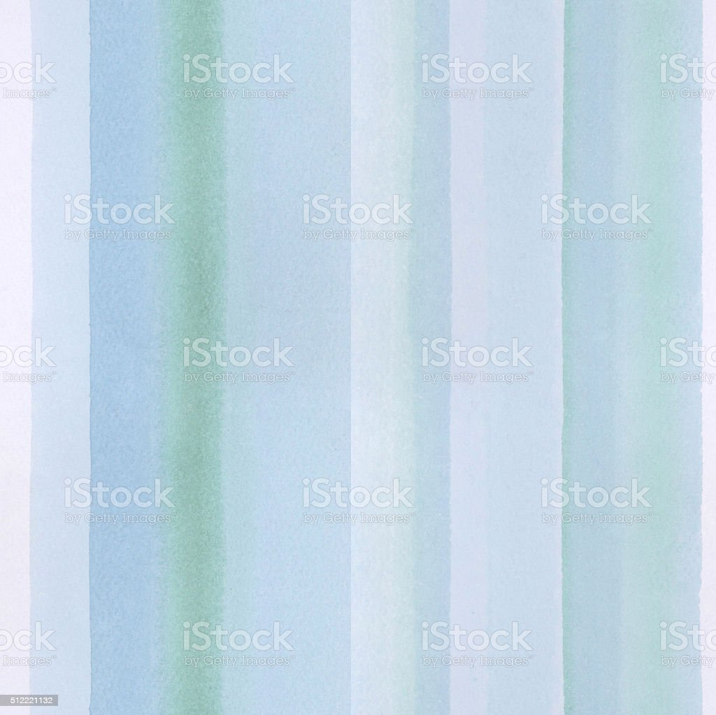 Seamless watercolor background with hand painted turquoise stripes. stock photo
