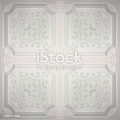 Seamless white extruded polystyrene foam ceiling tile texture
