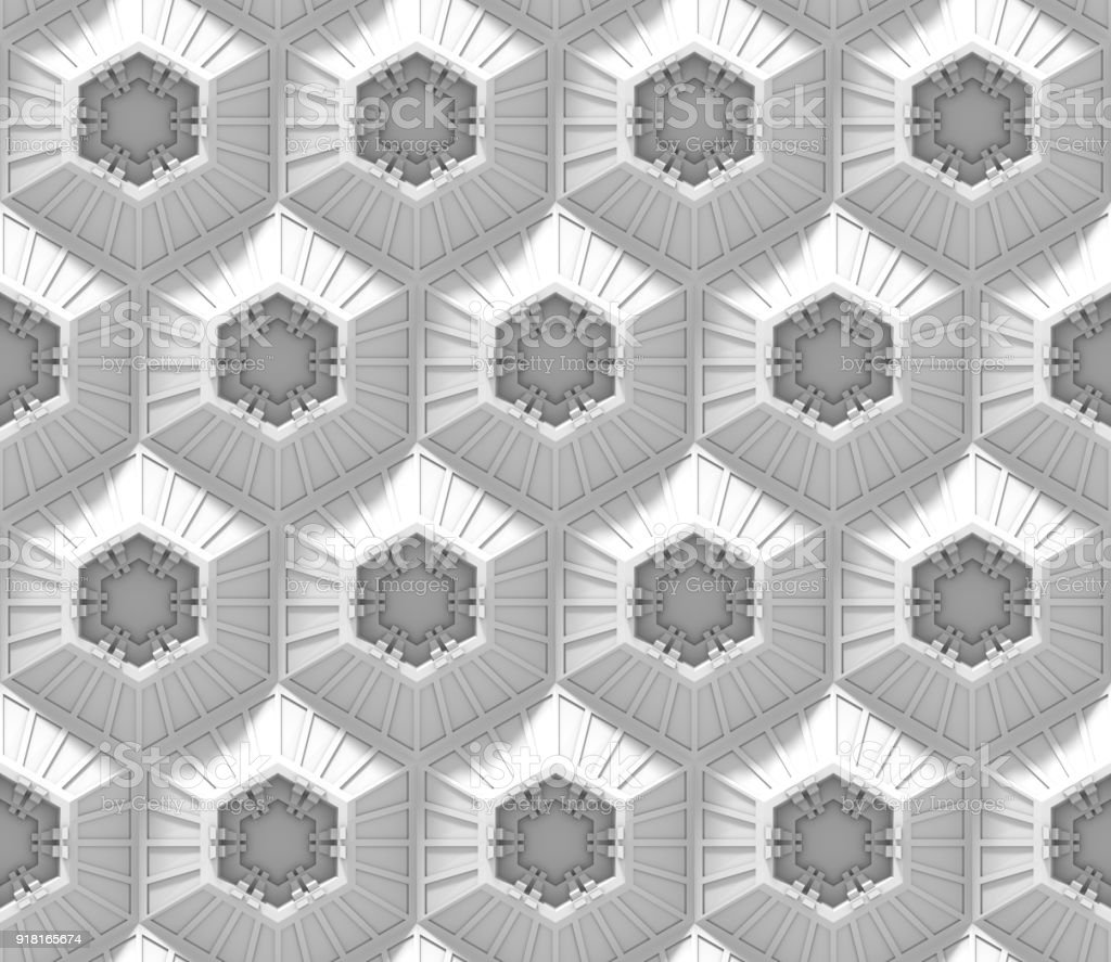 seamless white tech background with hexagon based shapes (3d illustration) stock photo