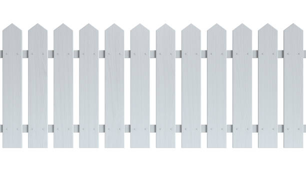 Seamless wooden fence painted white stock photo