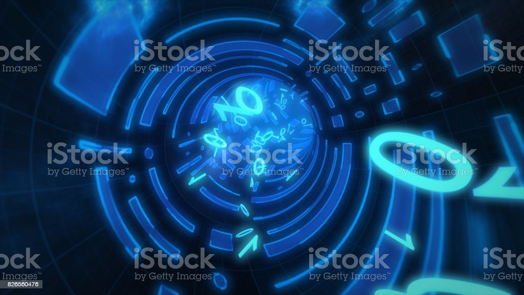Seamlessly looping animation of a binary internet tunnel. 3d illustration stock photo
