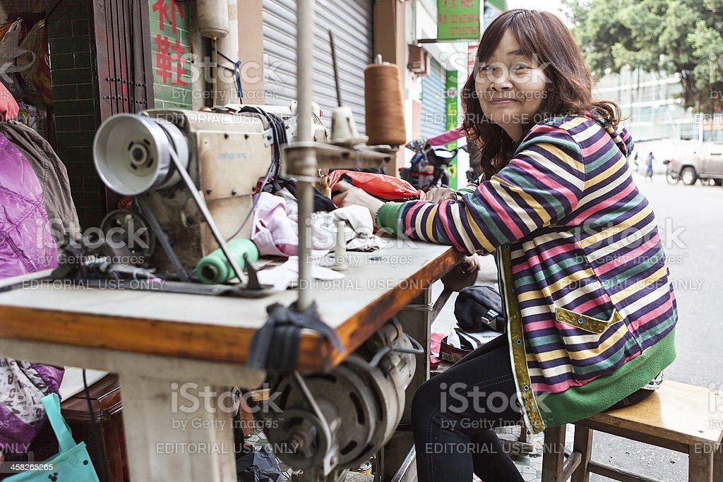 Seamstress shop in Foshan City, China stock photo