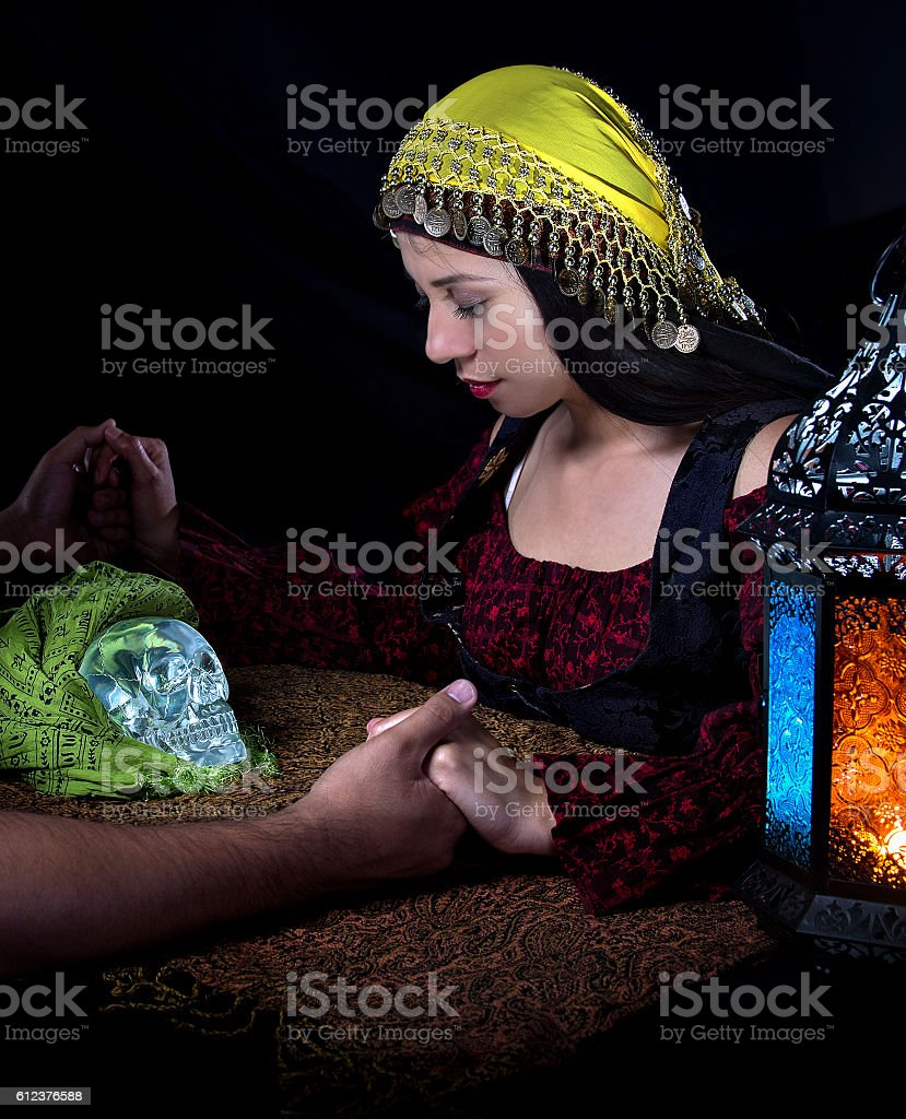 Seance with Psychic and Client stock photo