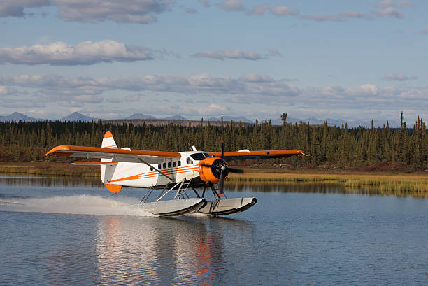 Seaplane Landing on an Alaskan Lake stock photo