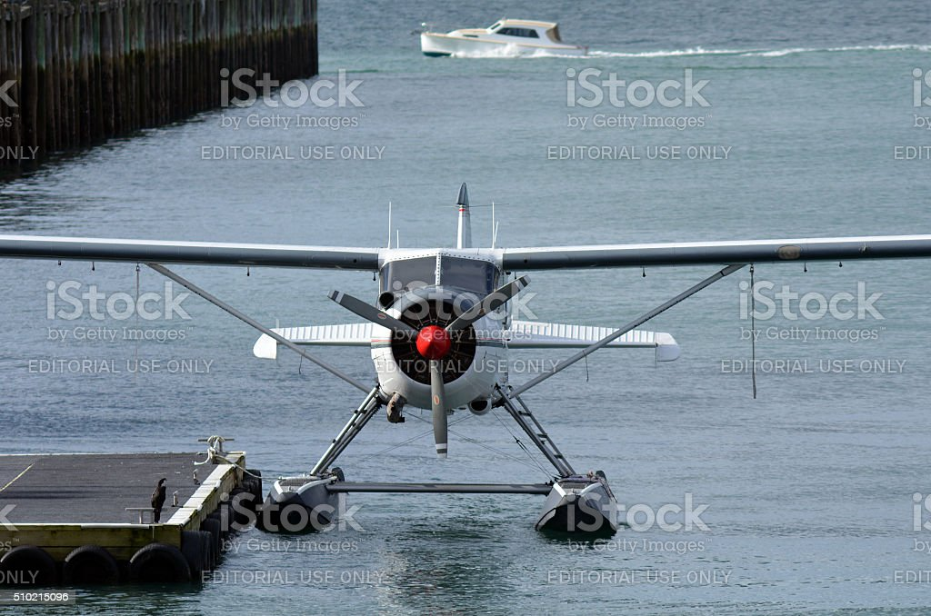 Seaplane mooring in Aucklnad Viaduct Harbour, New Zealand stock photo