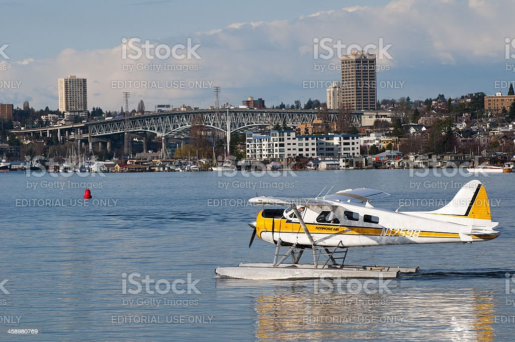 Seaplane on Lake Union in Seattle stock photo