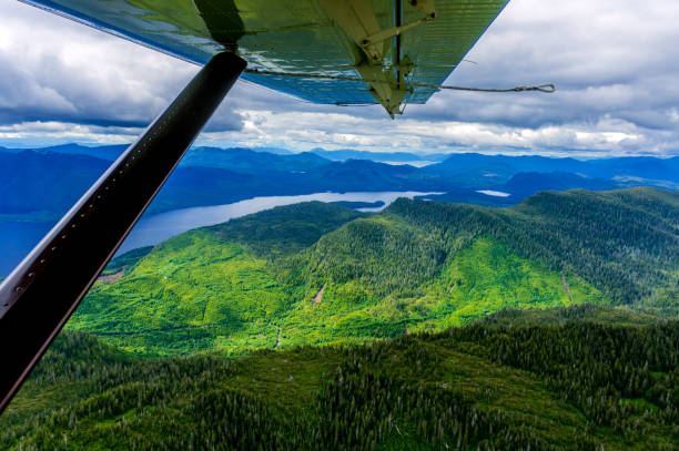 Seaplane over Misty Fjords, Ketchikan, Alaska. stock photo