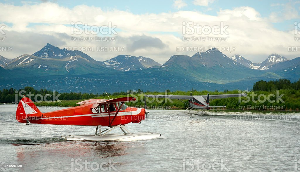 Seaplane Taxis Takeoff Lake Hood Ted Stevens National Airport Anchorage stock photo