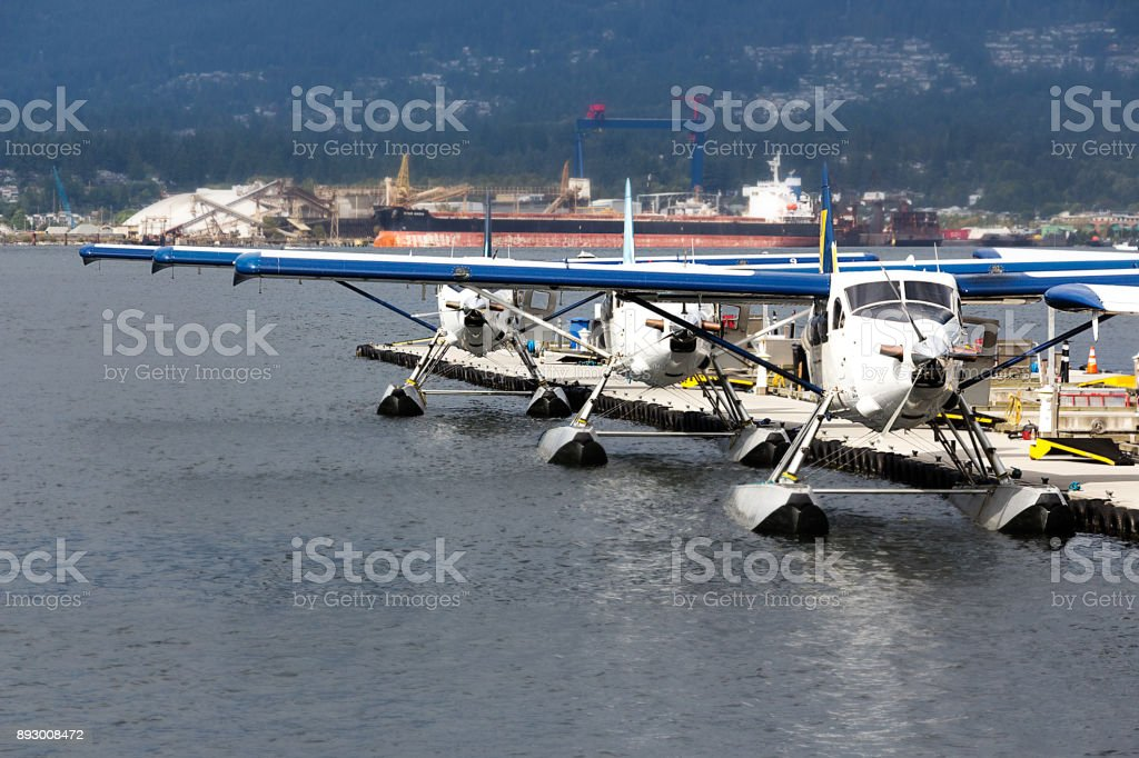 Seaplanes moored in Vancouver. stock photo