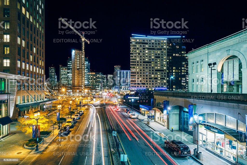 Seaport Boulevard in Seaport District - Boston, Massachusetts stock photo