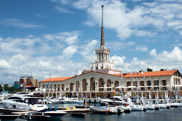Seaport in Sochi in summer Seaport in Sochi in summer at sunny day sochi stock pictures, royalty-free photos & images