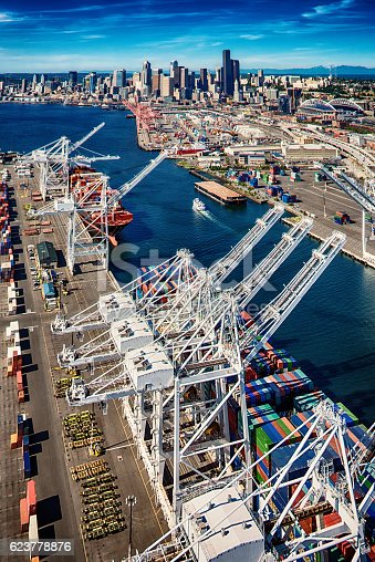 The Port of Seattle on the Puget Sound, the center for national and international trade in the Pacific Northwest.