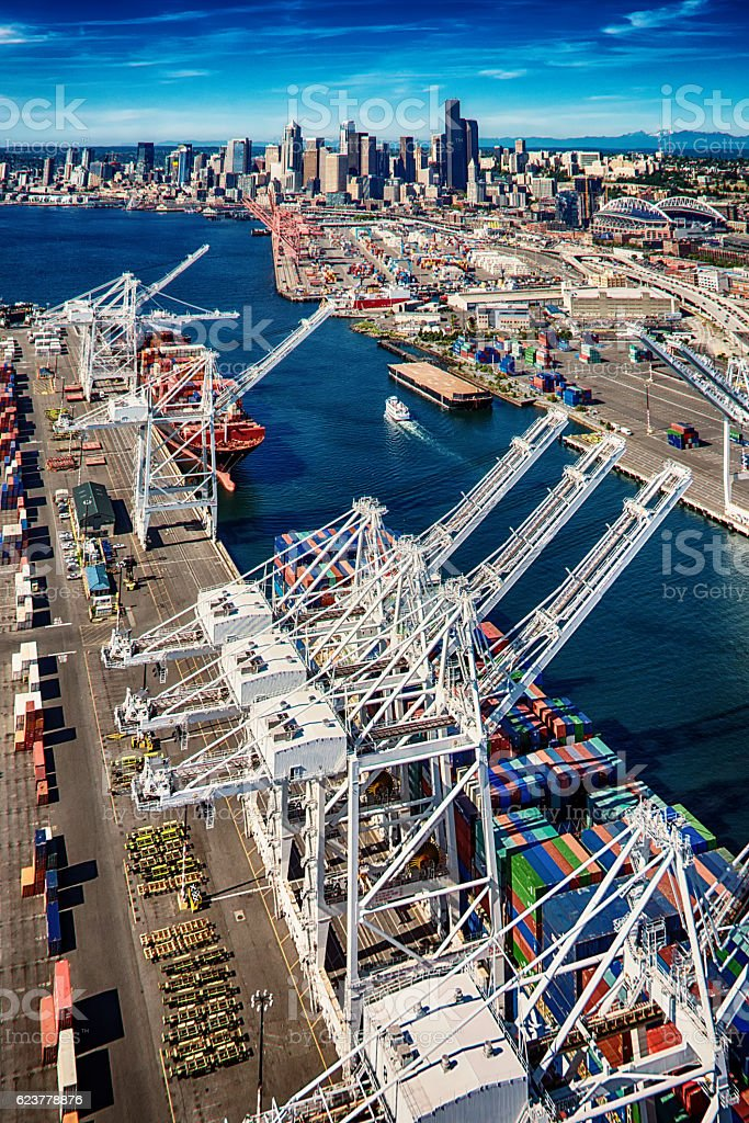 Seaport of Seattle Washington Aerial stock photo