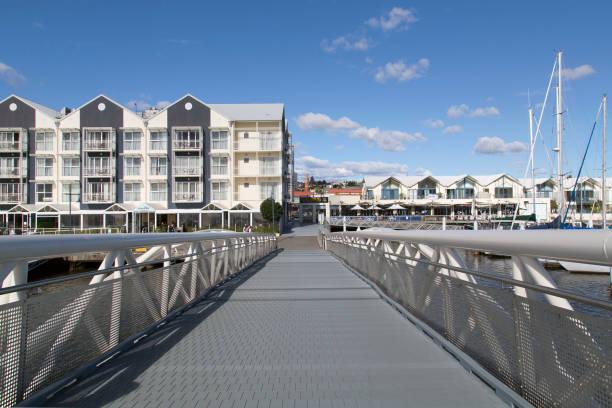 Seaport Pedestrian Bridge in Alexandra Walk Launceston - Tasmania stock photo