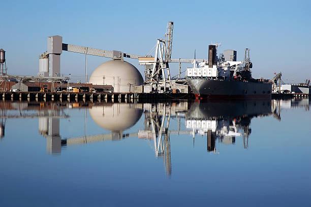 Seaport Ship Reflection stock photo
