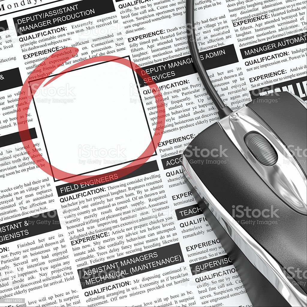 Search a job. Concept of recruitment. Newspaper with  empty fram stock photo