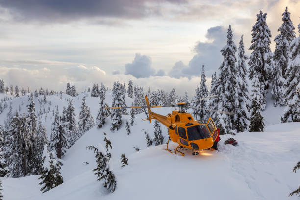 Search and Rescue are rescuing a man skier in the backcountry
