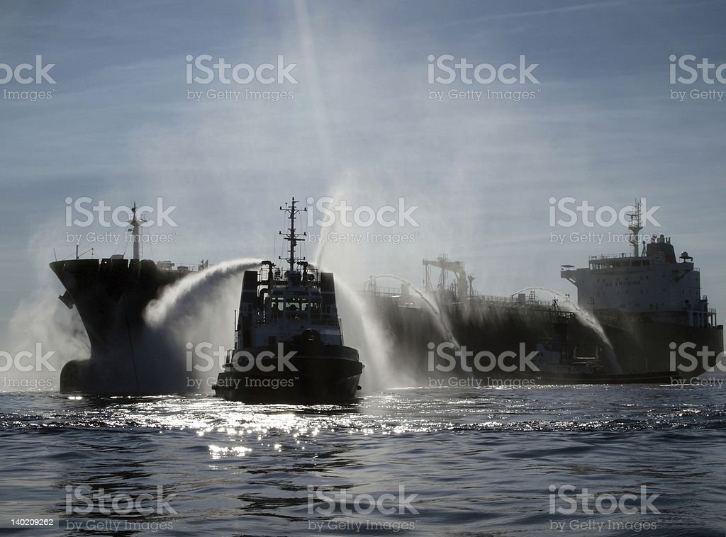 Search and rescue: Emergency  oil tanker, Chemical disaster stock photo
