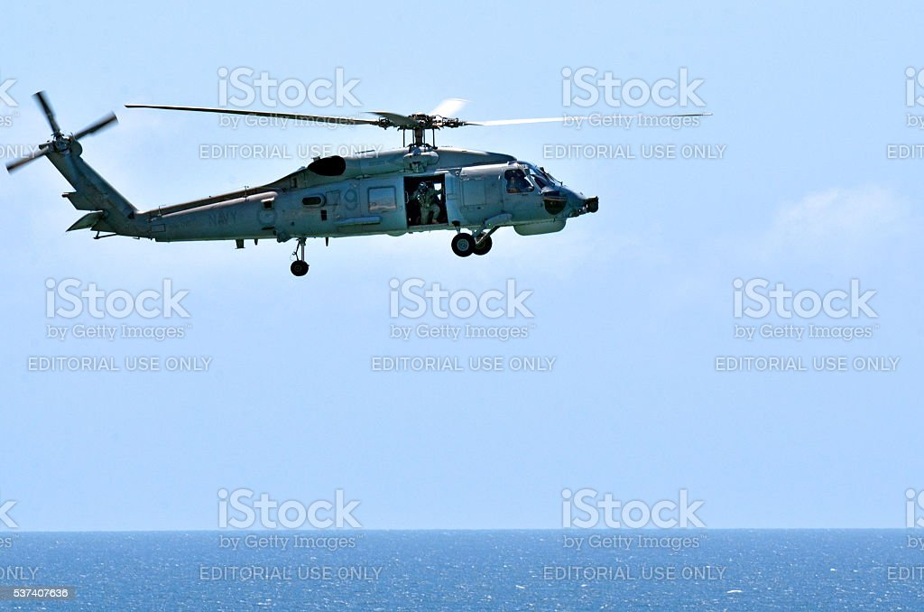 Search and rescue helicopter stock photo
