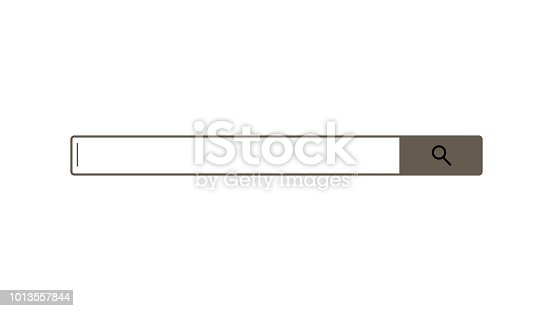 Search bar element design, search box on white background, 3d rendering backdrop